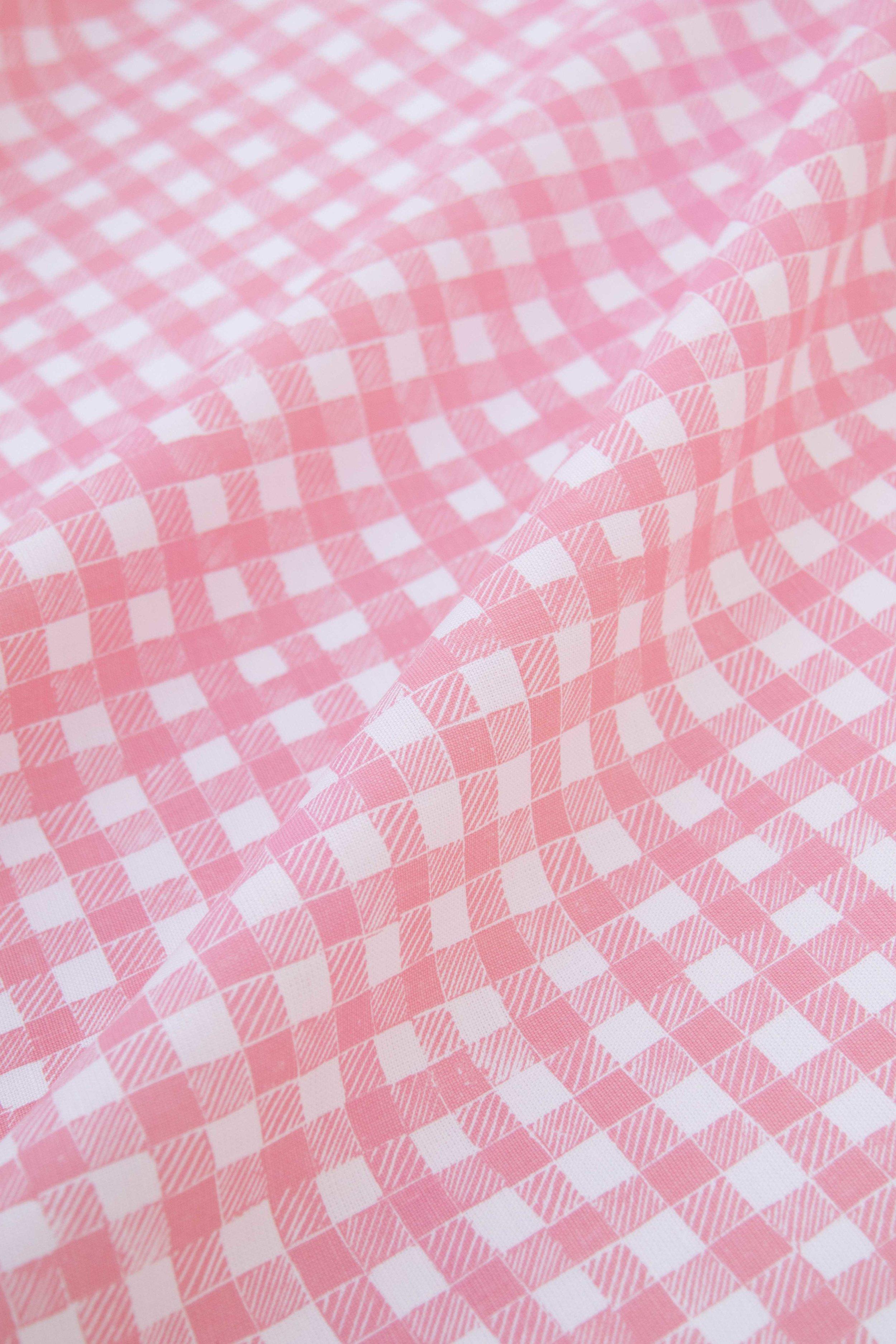 Block Print Gingham in Pink, SL250-05P