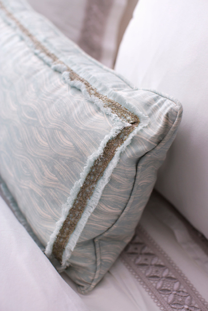 Custom Size Painted Wave Pillow in Celadon, Decor de Paris Trim, Photo by Karyn Millet