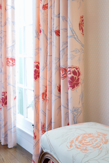 Peony Forest Fabric in Rose, Peony Forest Fabric in Cerulean, Interiors by Sharon Lee, Photo by Karyn Millet