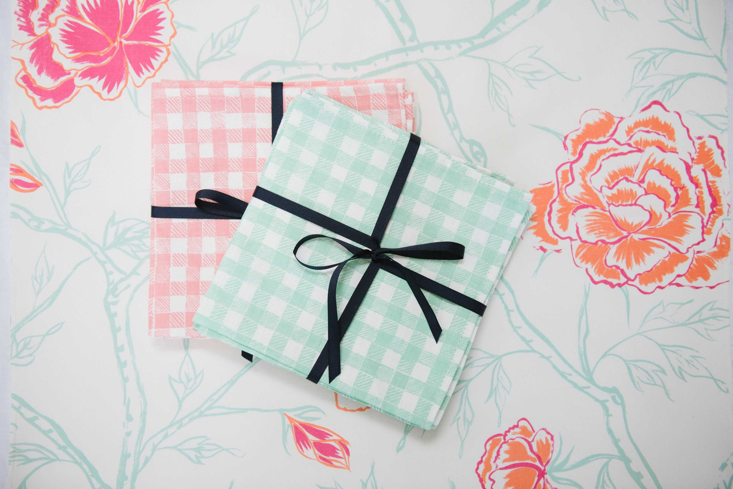 Block Print Gingham napkins in Green + Pink, Photo by Emily Young