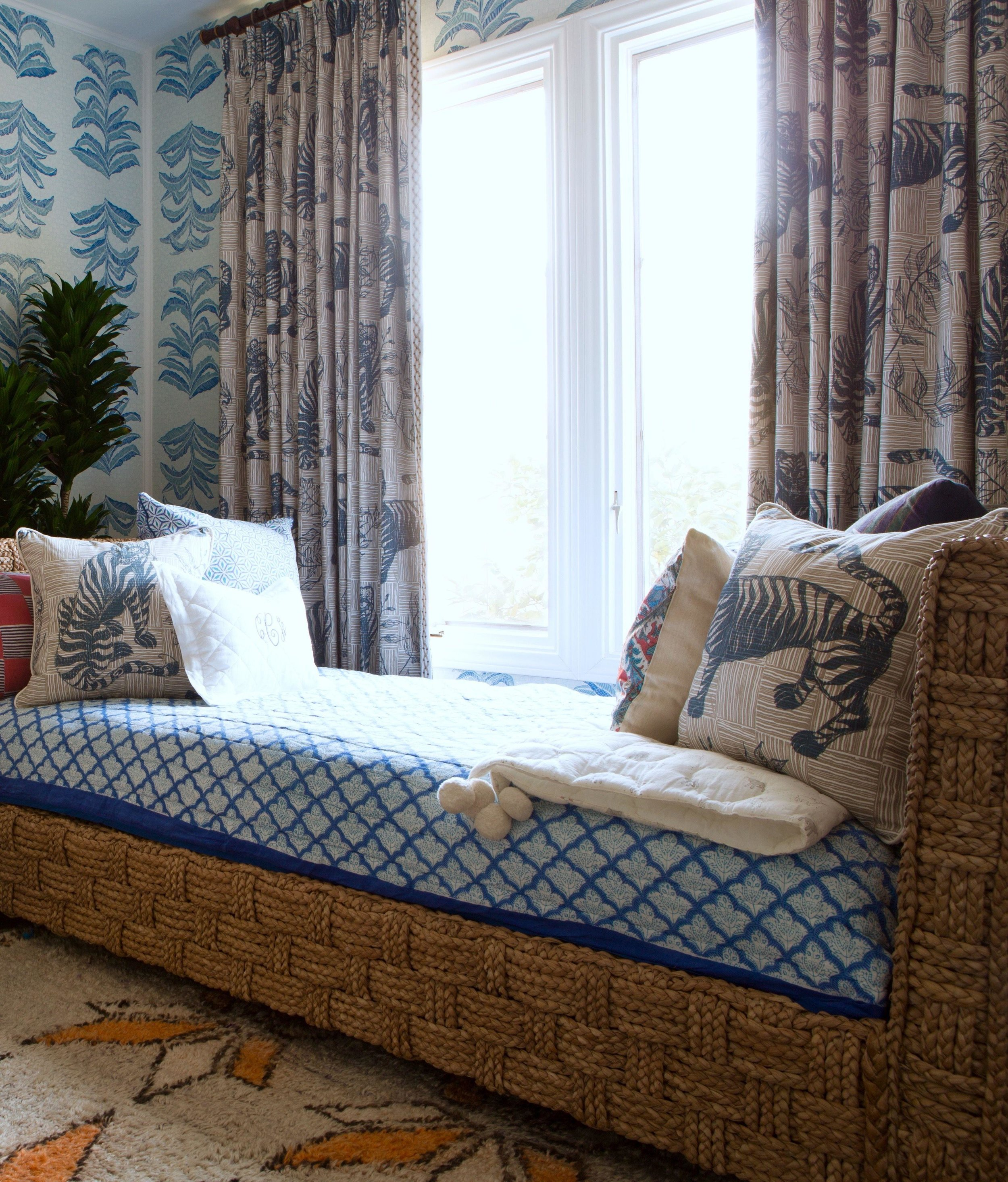 Tiger & Magpie Fabric in Deep Blue, Interiors by Sharon Lee, Featured in House Beautiful, Photo by Karyn Millet