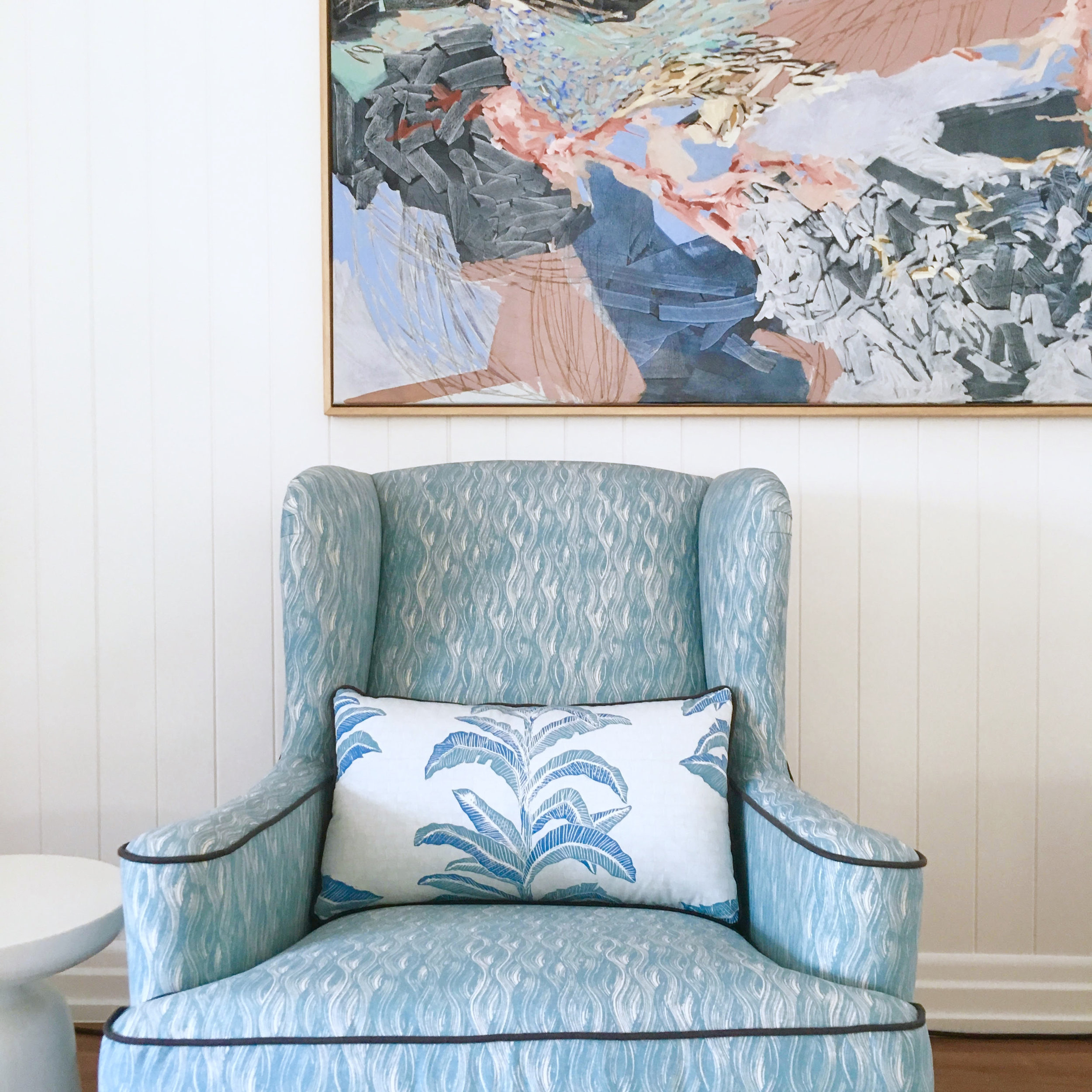 Painted Wave Fabric in Lake, Interiors by Claire Stevens Interior Design, Featured in House & Garden UK