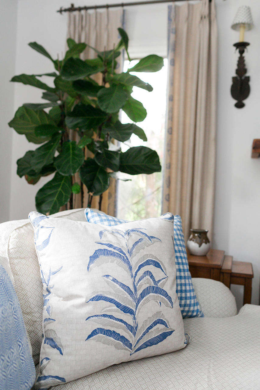 Banana Leaf Pillows in Navy, Interiors by Sharon Lee, Photo by Mekina Saylor