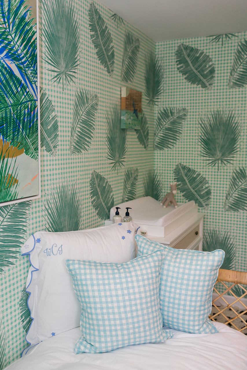 Gingham Jungle Pillows in Light Blue, Interiors by Sharon Lee, Photo by Mekina Saylor