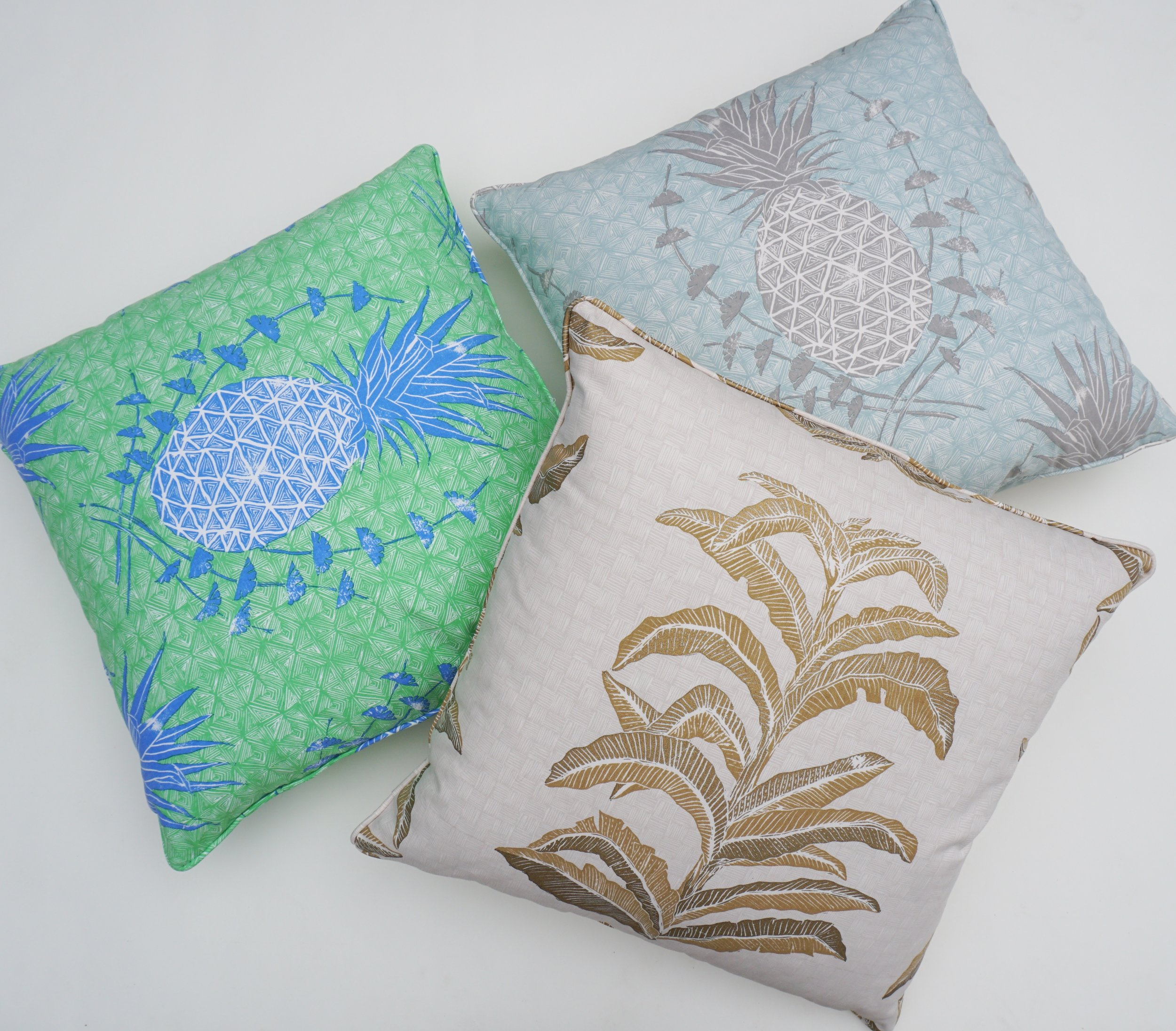 Royal Pineapple Pillows in Chandler and Celadon
