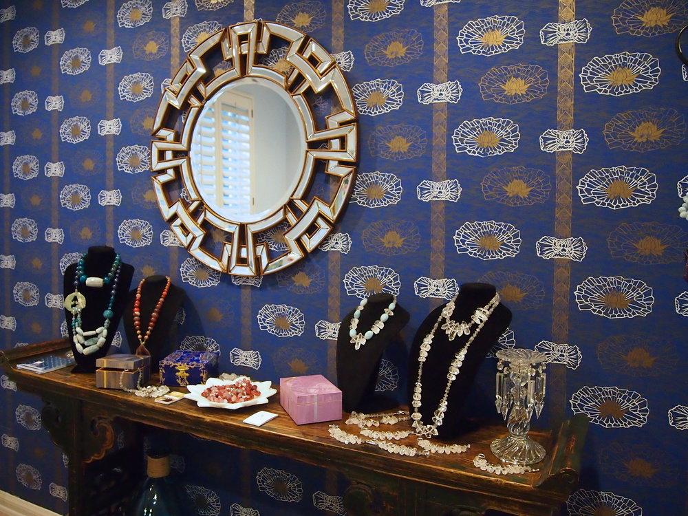 Lotus Stripe Wallpaper in Ultramarine, Hespera Showroom