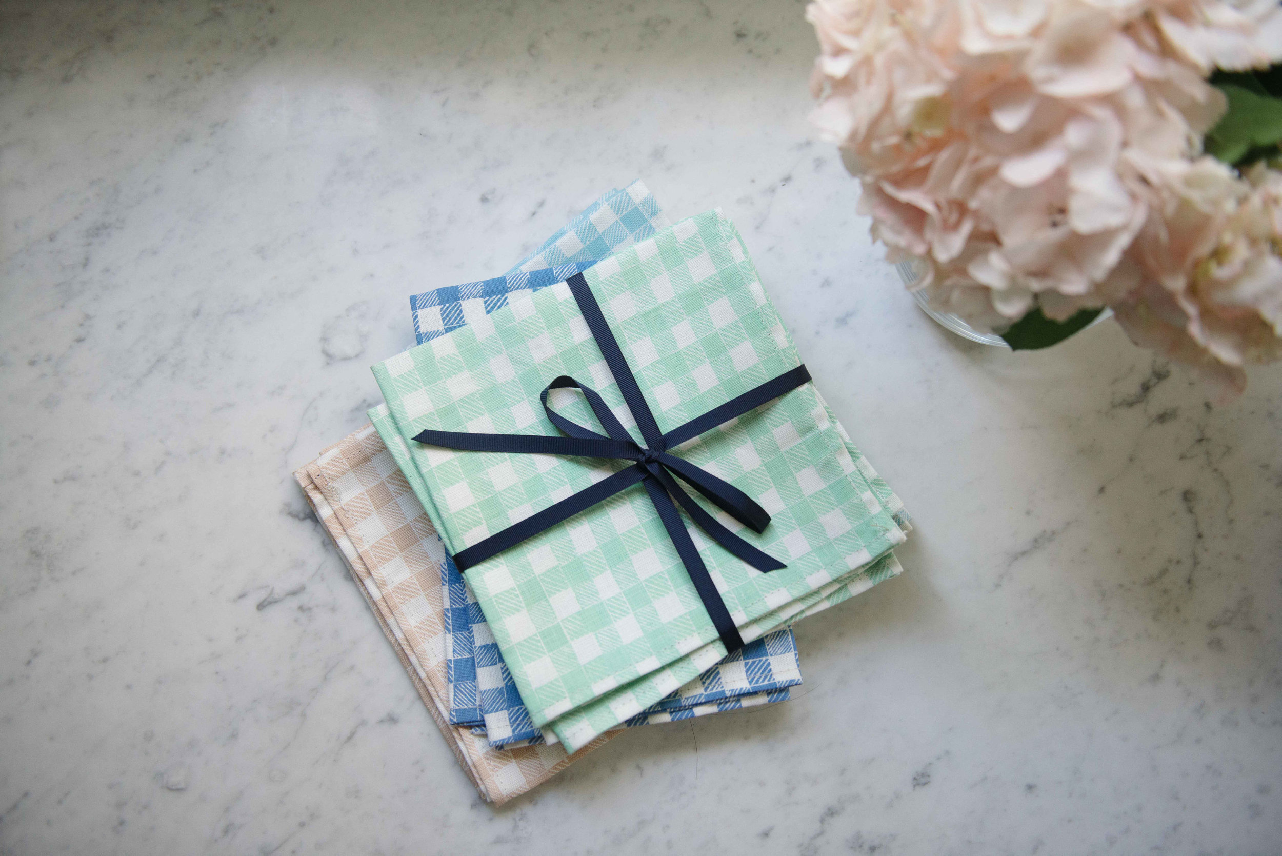 Block Print Gingham Napkins in Green, Blue, Light Blue, and Beige, Photo by Emily Young