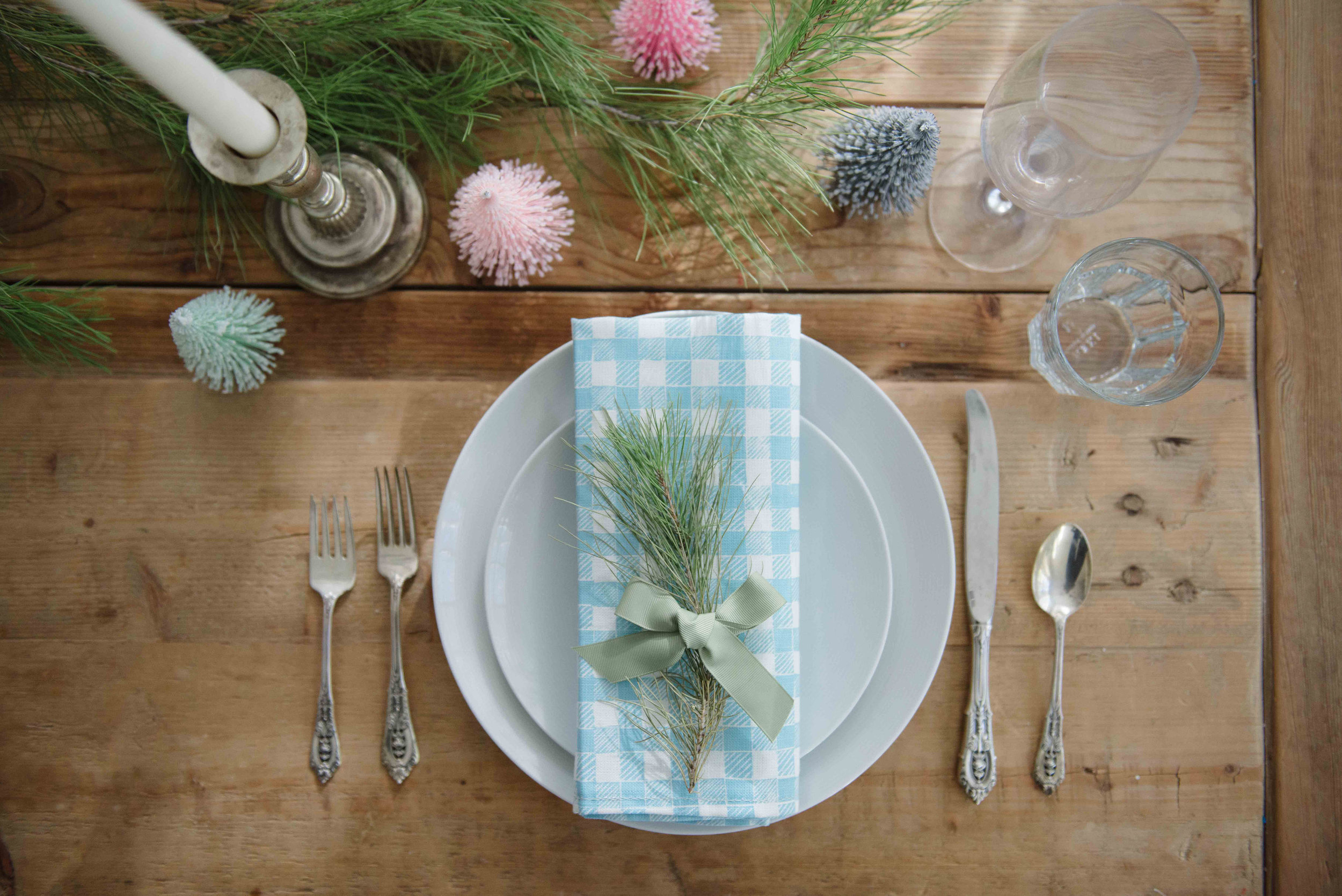 Block Print Gingham Napkin in Light Blue, Photo by Emily Young