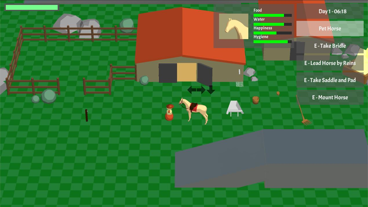 Current screenshot of the #horsegame prototype