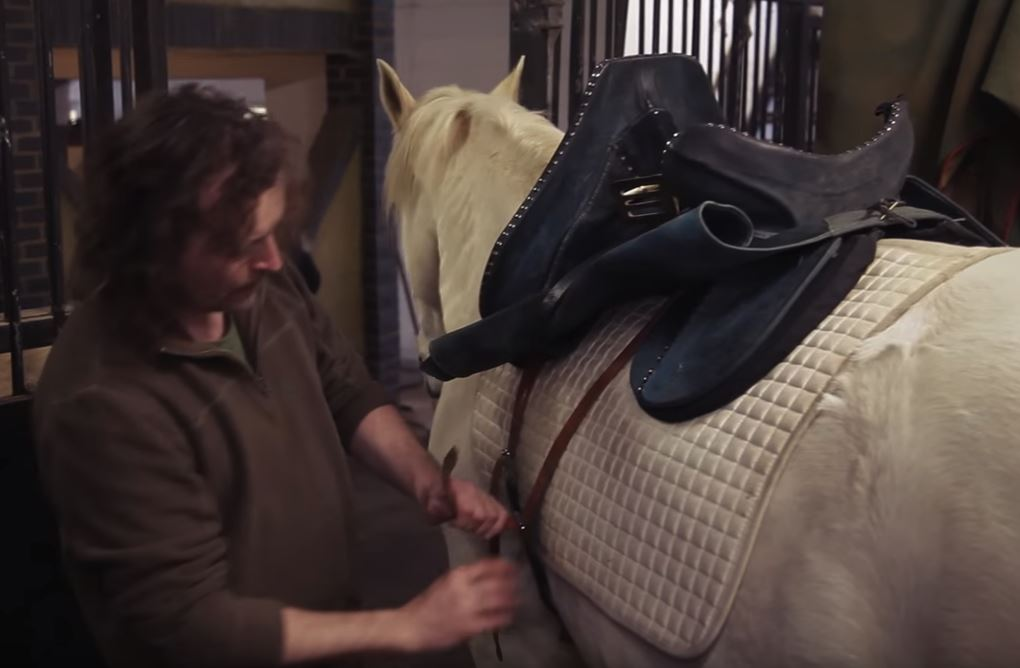 Here, Kingsley uses a replica of a 15th century saddle, designed to distribute a knight's weight with armor better than a modern saddle.   Src