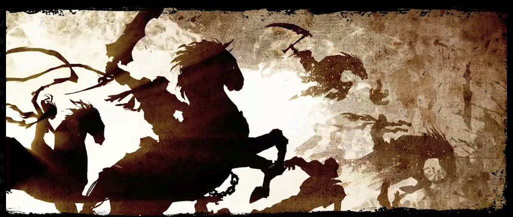 The Four Horsemen in a stylized cutscene from Darksiders, 2010
