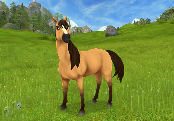 Spirit as he appears in SSO. In accordance with the character of the TV series, in-game Spirit cannot be saddled or bridled, but he can be ridden if you complete a bunch of quests that make him trust you.
