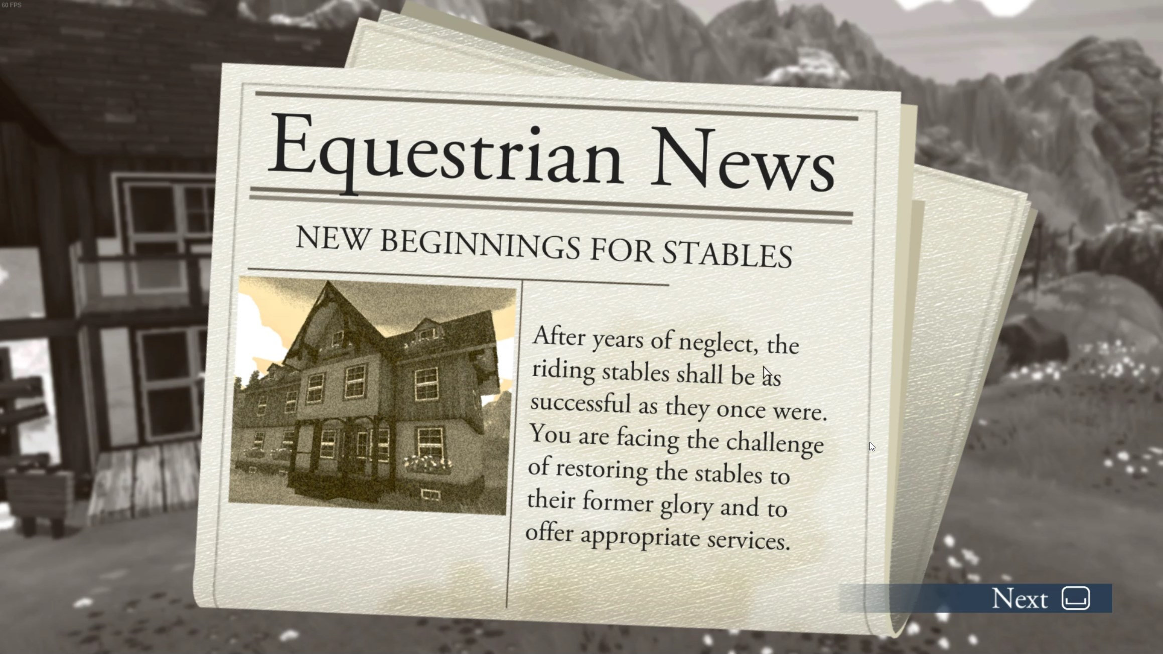 Where  Life With Horses  had these little newspaper articles for a stylized way of informing you about your own success at several points in the game,  Your Horse Breeding  mostly relegates these messages to the regular UI after this initial screen. It does it without changing the actual text however, making the announcements stand out oddly in tone and wording.