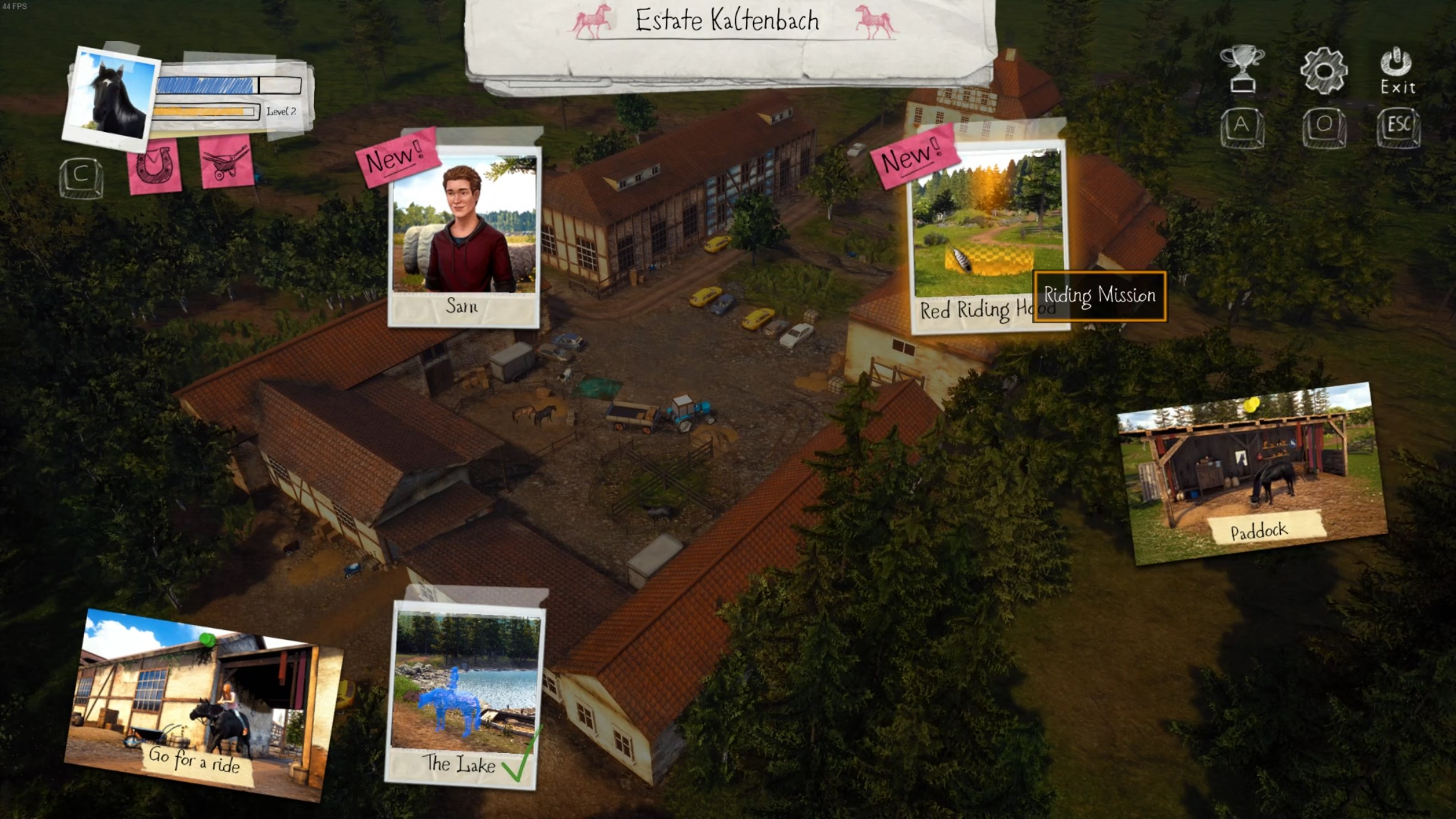 Missions, horse care and the open world are acessed through the Estate menu.
