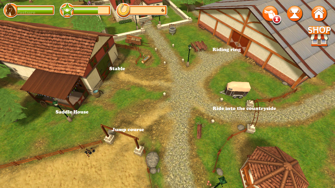 The stable overview screen in Horse World