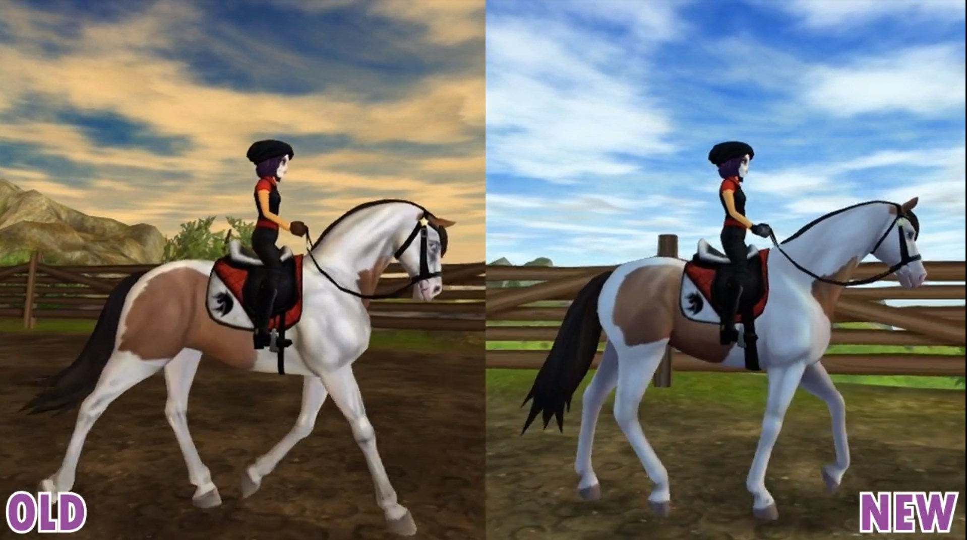The new starter horse more realistic animations and proportions, and a stylized texture .  Image Source