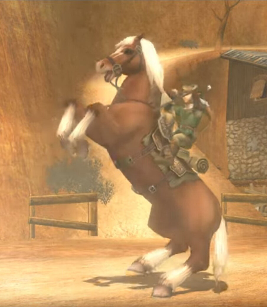 Link and Epona, finally reunited in Kakariko Village in Twilight Princess.