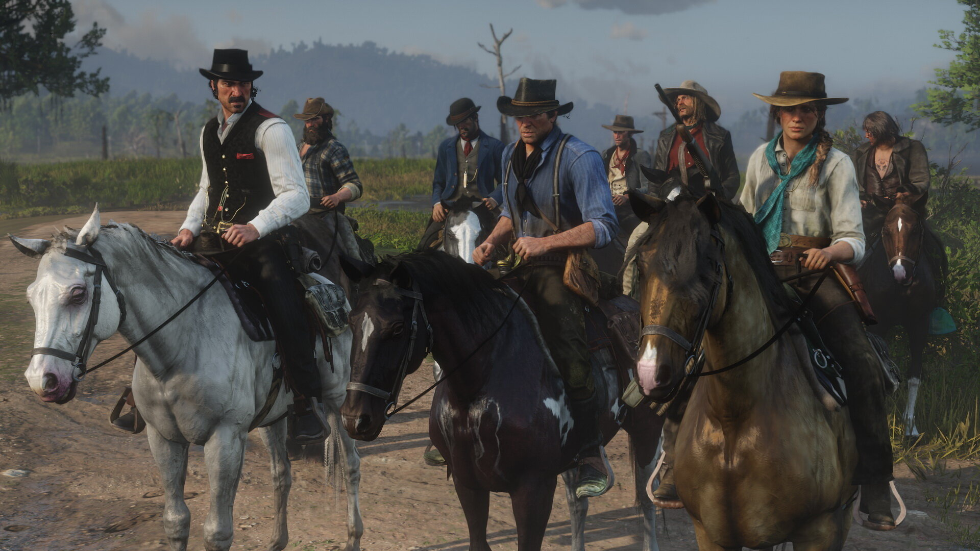 While the player decides what horse main character Arthur rides, the rest of the gang has predefined mounts.