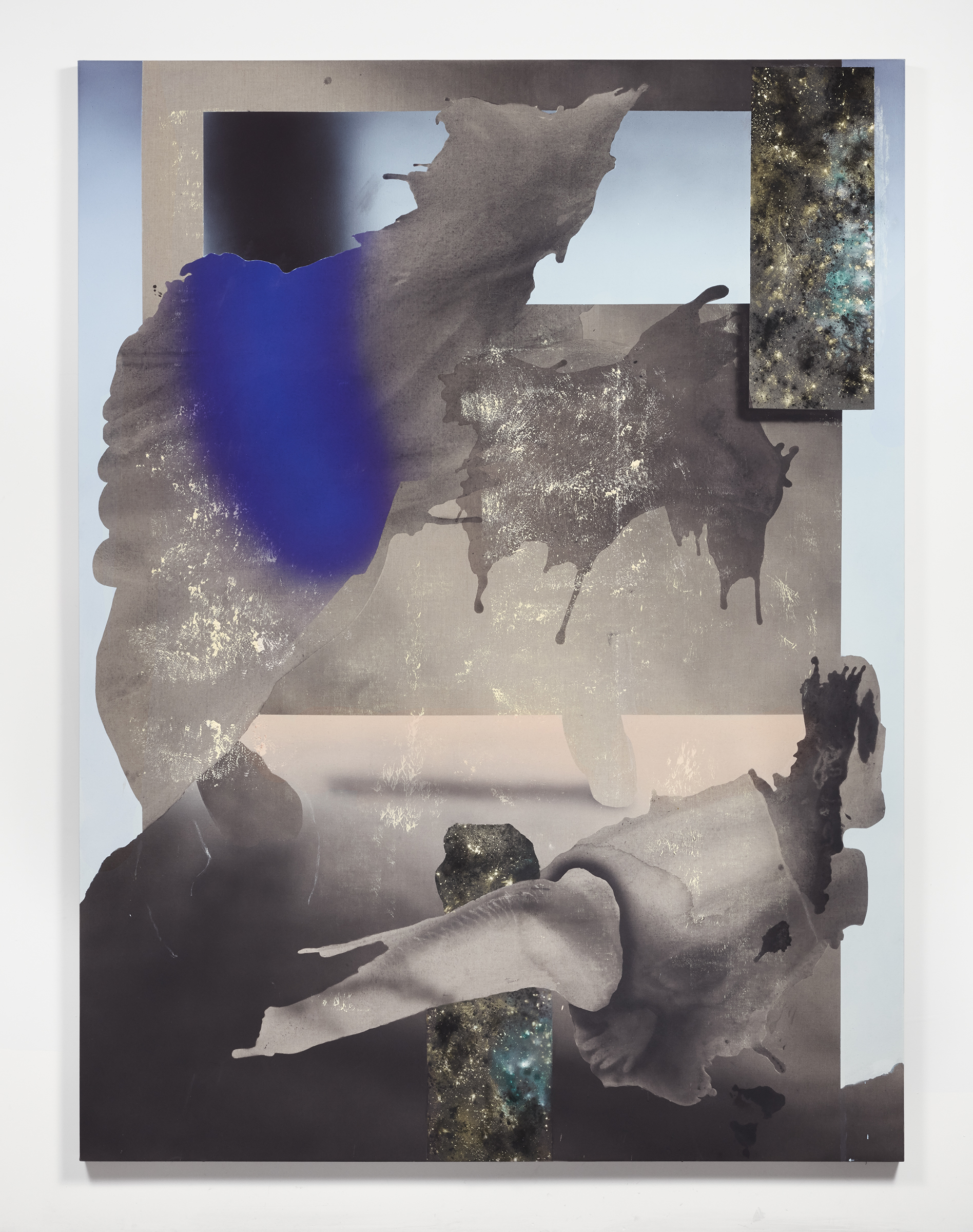 Impossible Light , Flashe, mica, acrylic, and charcoal on linen, 96 x 72 inches, 2017