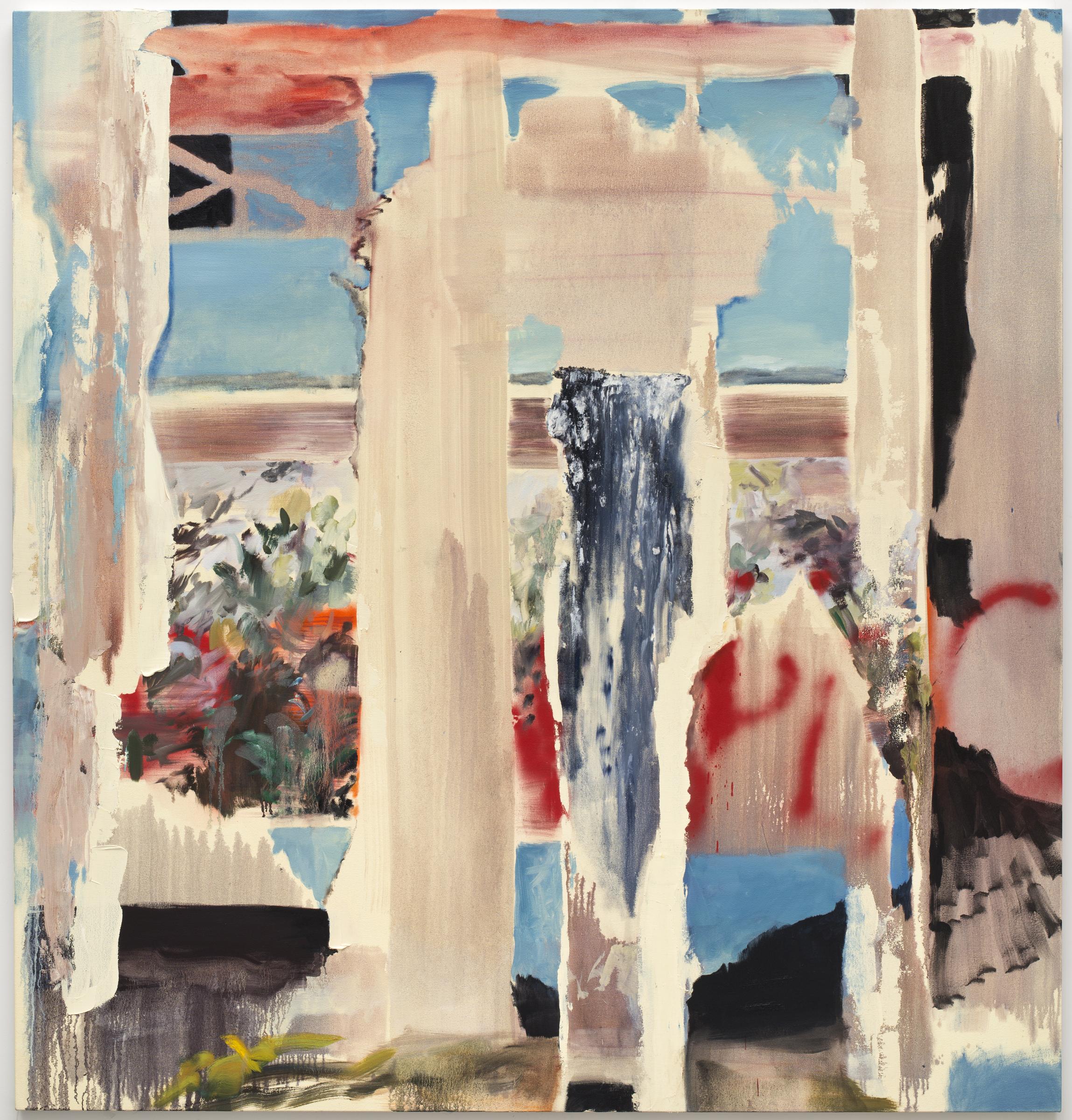 Various Peep Shows (Through) , Oil, acrylic, enamel spraypaint on canvas, 84 x 82 inches 2013
