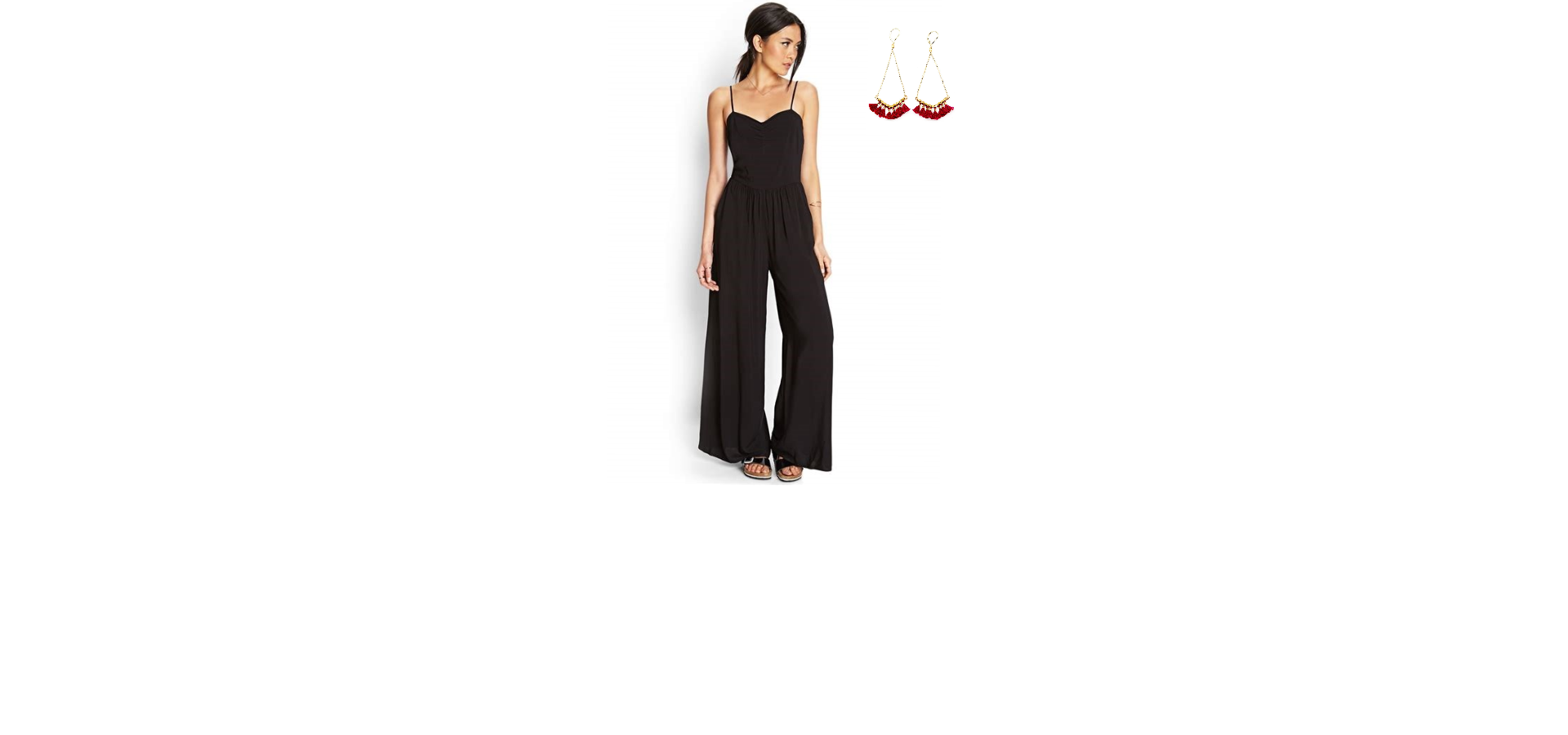 This jumpsuit is great for showing off the slender upper body and concealing the hips to create a harmonious figure.