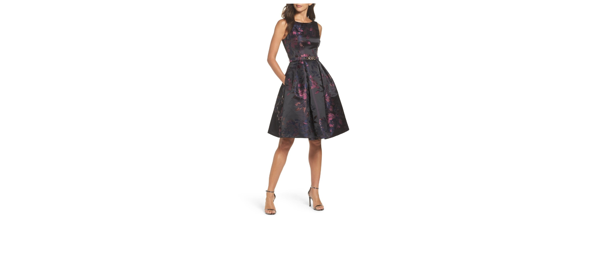 Fit and Flare dress works well on the Triangle body shape. This dress shows off the arms while the flare conceals the larger hips.