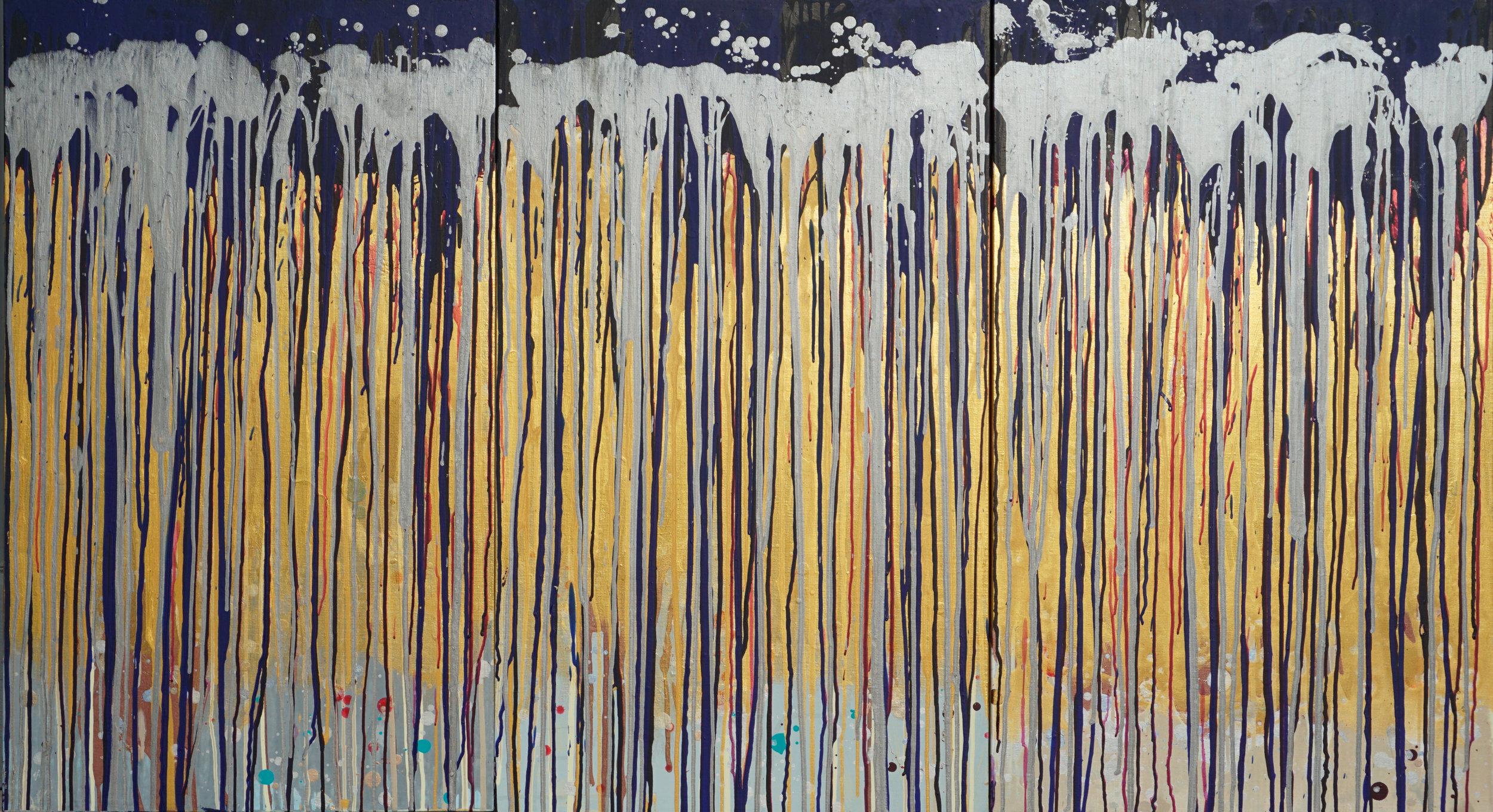 """Cosmic Dream 16-XXVIII, XXIX, XXX Acrylic on Canvas 24"""" h x 120"""" w"""