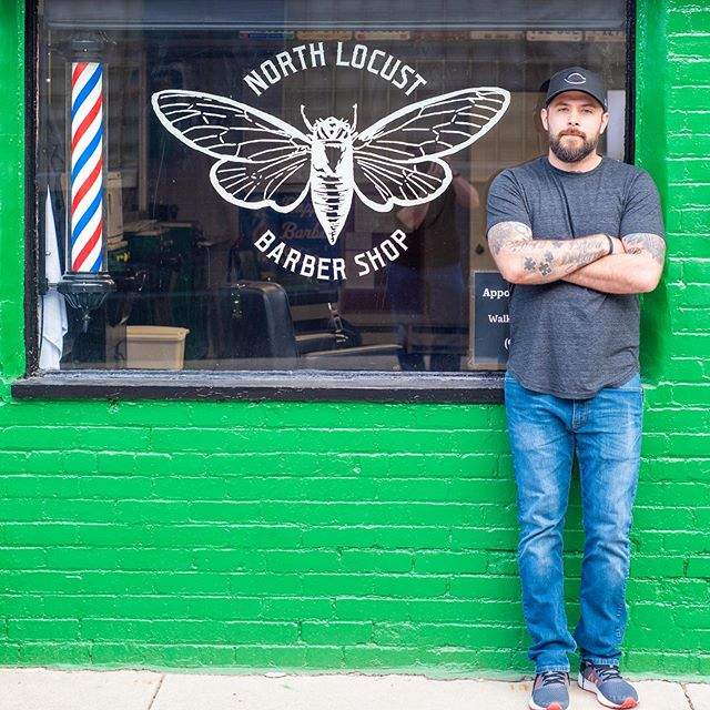 Matt at his barbershop, The North Locust Barber shop located in Urbana. Same great service in his home town location.