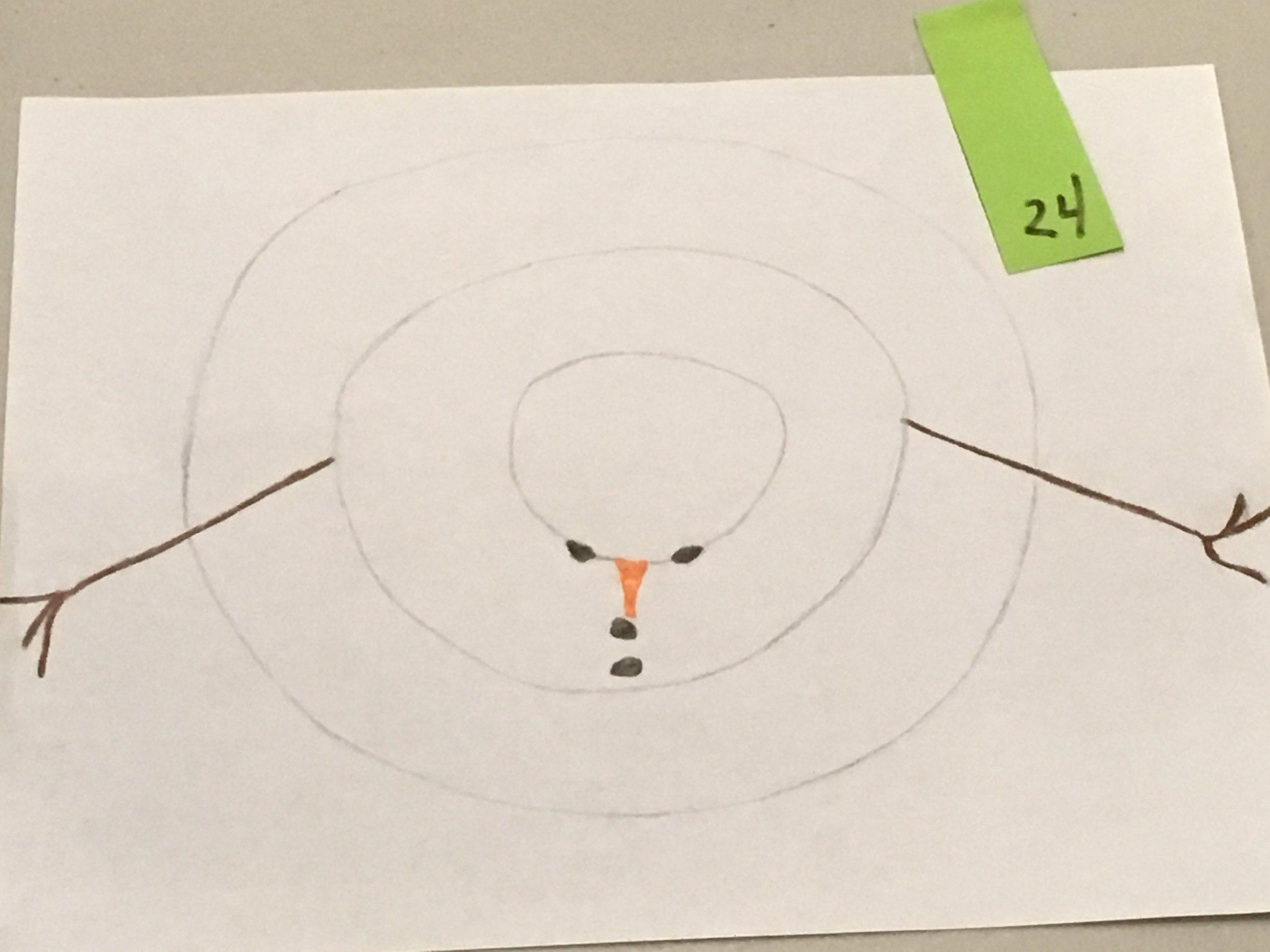 Aerial view of a snowman