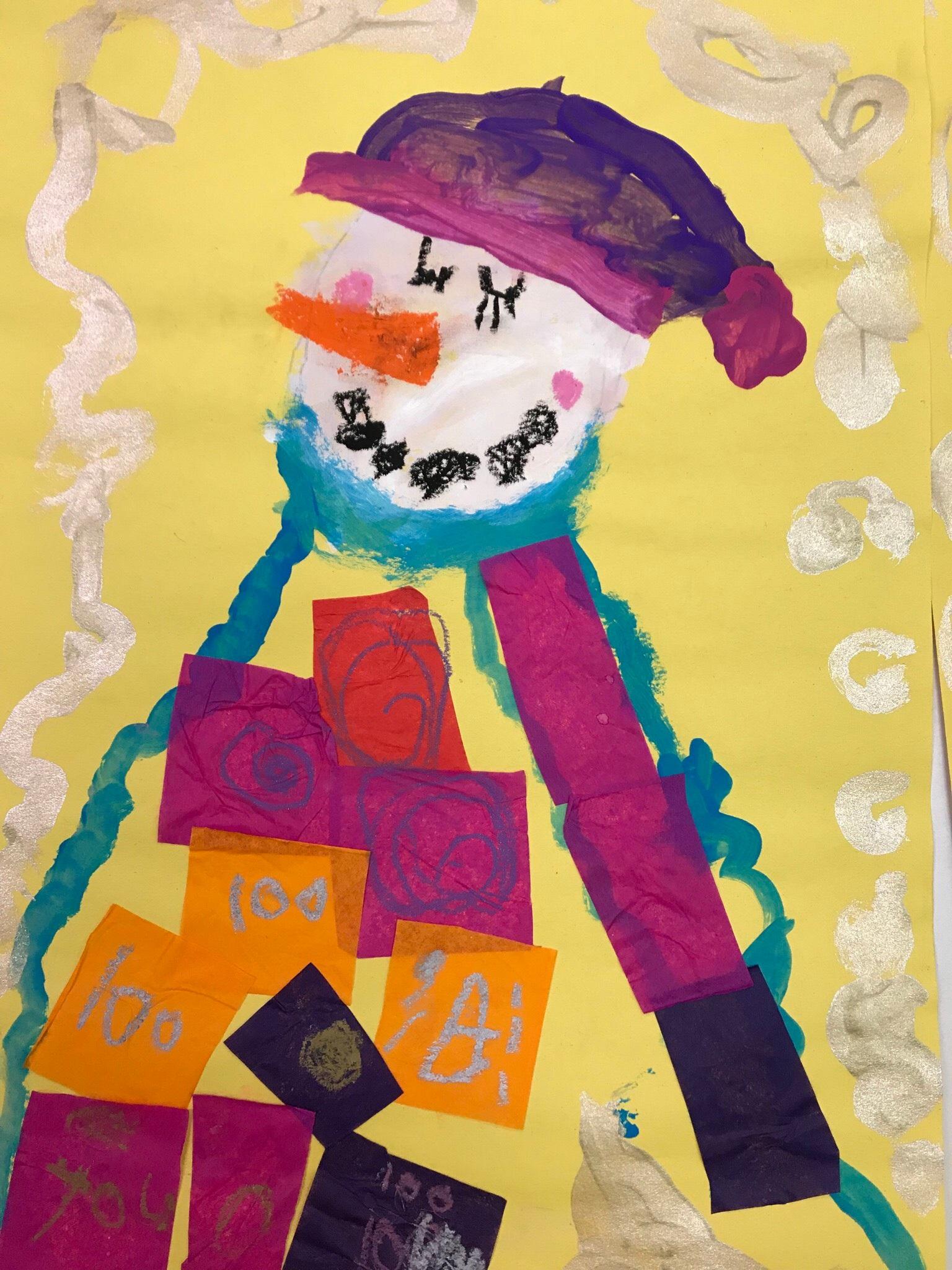 Klimt inspired snowman from a kindergarten student