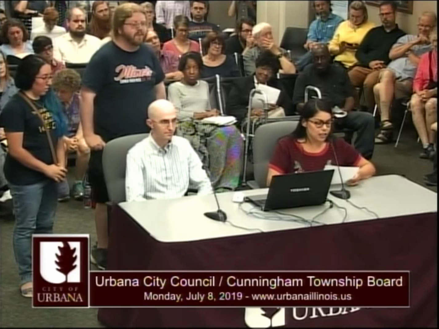 Live coverage of the Urbana City Council meeting during the public comment section where GEO members read the above statement in support of the Independent Media Center.