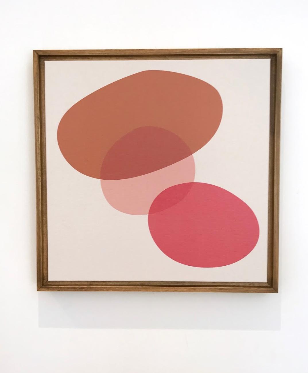 Telas série PEDRAS 03 - paleta coral/rosa tamanho 104 x 104cm | moldura baguete cor freijó