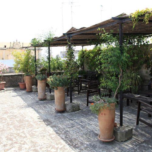 Terrace at Palazzo Rollo, Lecce, Italy