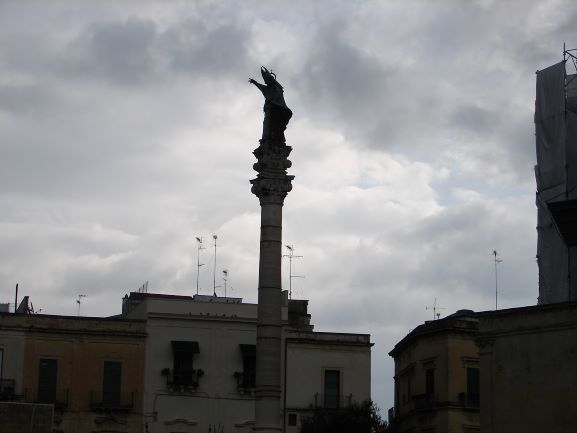 I love the way the dark clouds gather over Sant'Oronzo's statue in his namesake piazza. It looks like he's about to smite some enemies. (photo: Brent Petersen)
