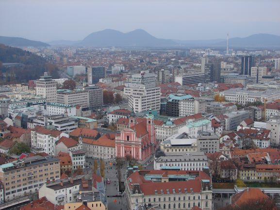 View of Ljubljana and the Julian Alps from Ljubjlana Castle