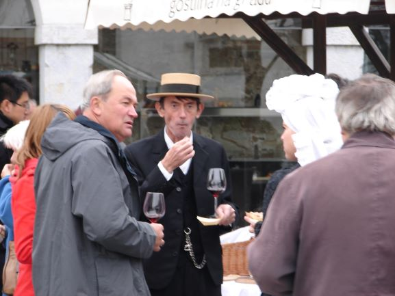 Enjoying St. Martin's Day at Ljubljana Castle. I really like the gentleman in the middle's hat.