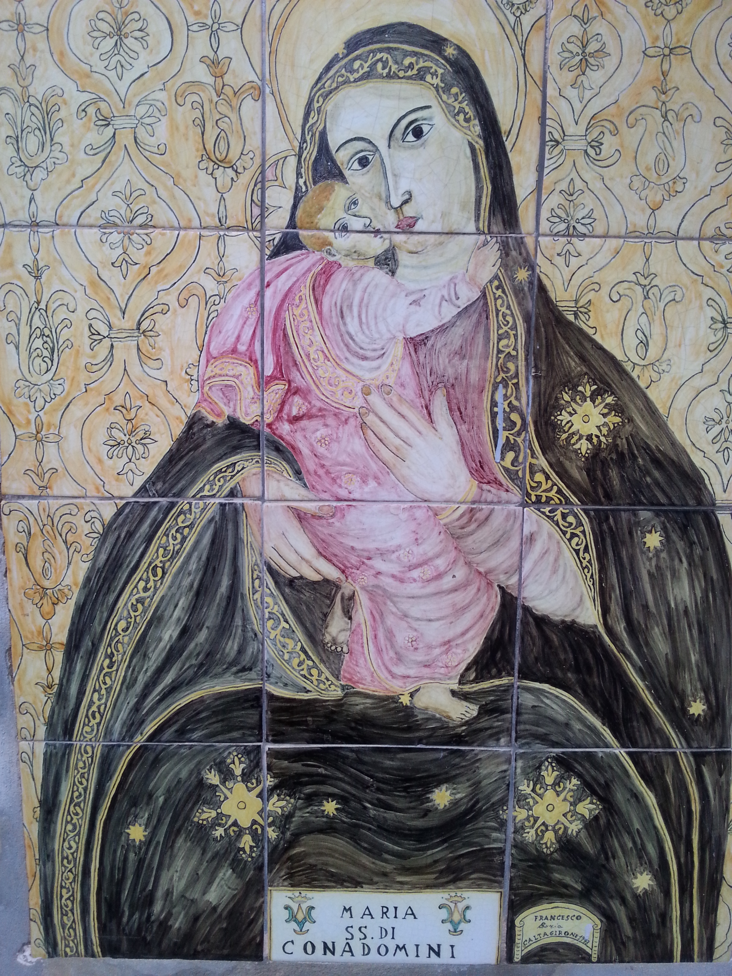 Ceramic painting outside  Chiesa di santa Maria del Monte, Caltagirone, Sicily