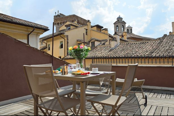 Rooftop terrace at  Navona Colors Hotel