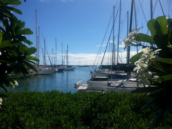 View of the harbor from La Mariana Tiki Bar, Honolulu, Hawaii