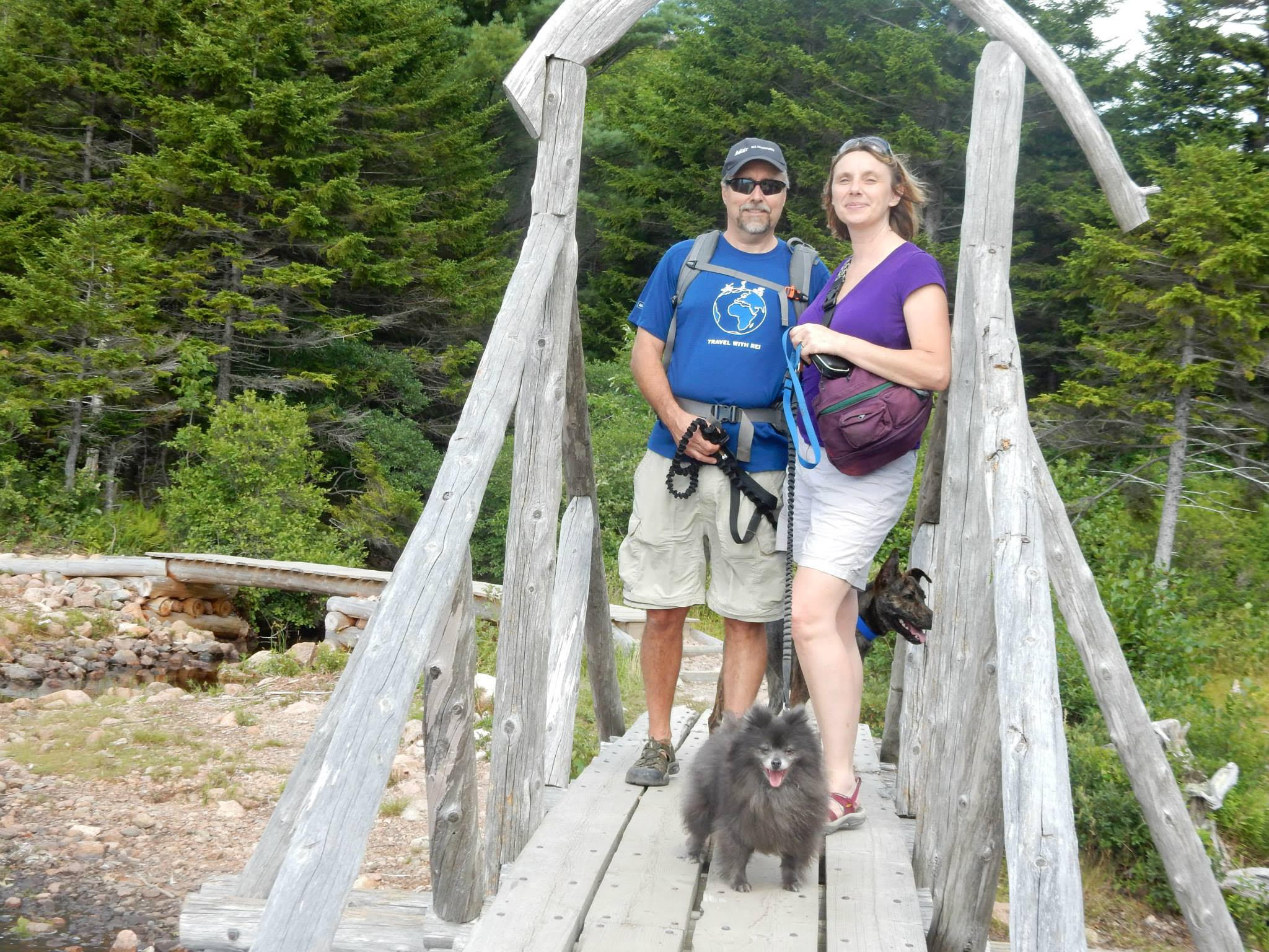 Guest blogger Vesna Plakanis, her husband Erik, and friends posing in the spot they love best the outdoors.