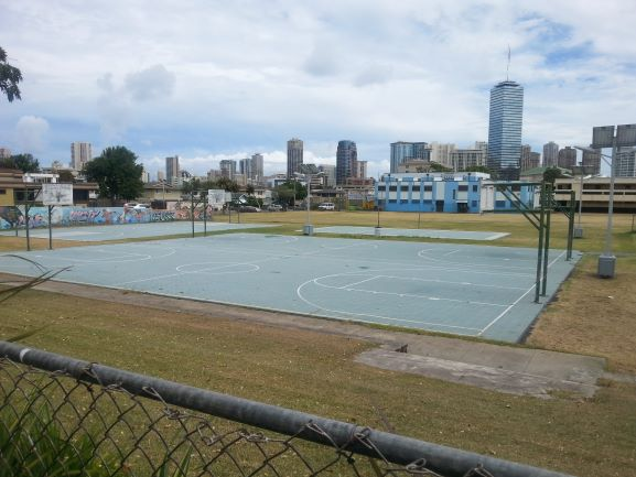 Washington Middle School basketball courts. Where future President Barack Obama found his love for the game. Part of the Barack Obama self-guided walking tour. (photo: Brent Petersen)
