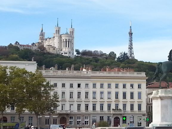 The Metallix Tower of Fourviere as seen from Vieux Lyon