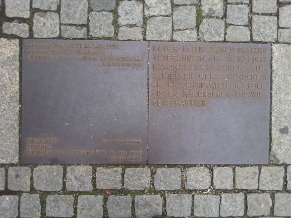 Plaque at Bebelplatz serves as a reminder of the Nazi book burning