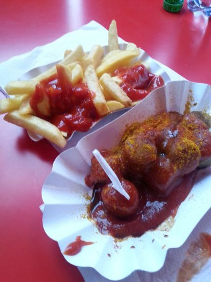Vegan Currywurst from Curry at the Wall, Berlin, Germany (photo: Brent Petersen)