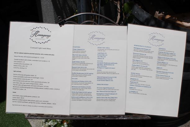 Hemingways menu, Devonport, Auckland (photo: Brent Petersen)