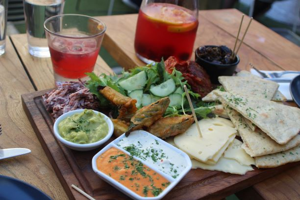 A platter of food and a carafe of sangria at Basque, Wellington