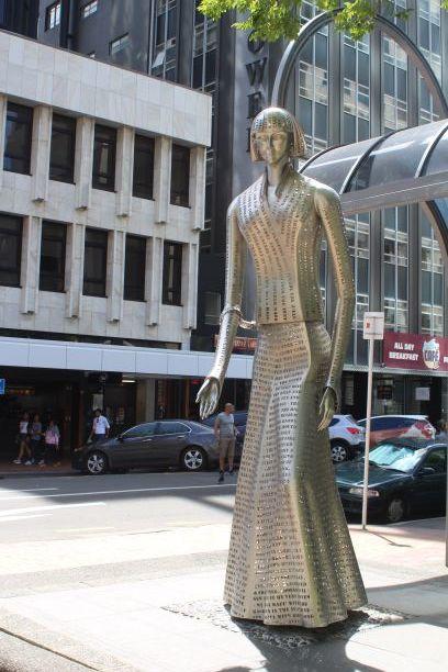 Katherine Mansfield statue in Wellington