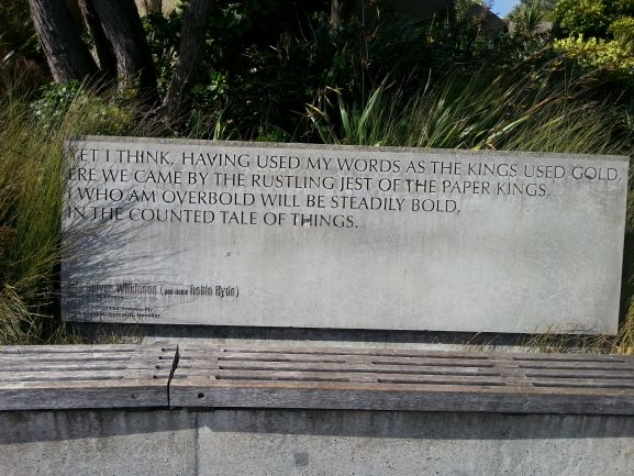 Wellington Writers' Walk sculpture (photo: Brent Petersen)