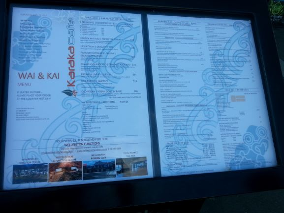 Karaka Cafe menu