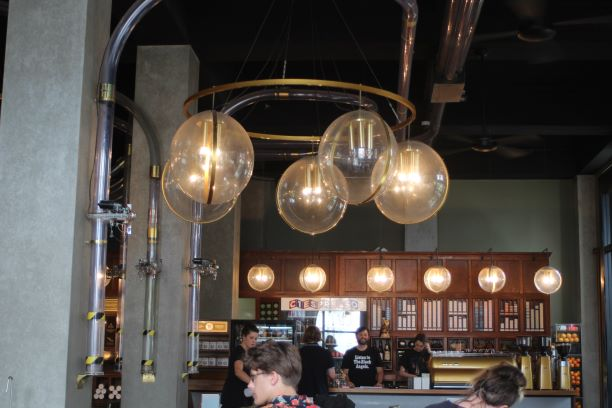 Note the pneumatic tubes at C1 Espresso, Christchurch, New Zealand